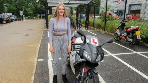 Beth Suckling, 17, with her motorcycle at University Technical College Norfolk.